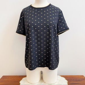 A New Day Black Gold Print Short Sleeve Blouse M